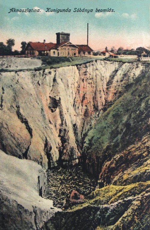 Aknaszlatina:Kunigunda sóbánya beomlása.1916
