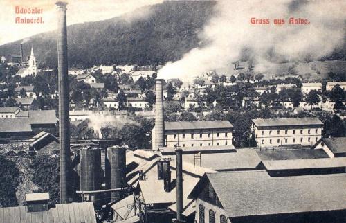 Anina:gyár a templommal (balra).1909