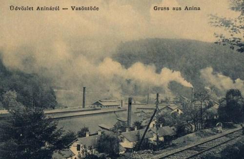 Anina:Gusztáv akna a bánya lejárattal.1908