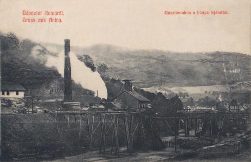 Anina:Gusztáv akna a bánya lejárattal.1909