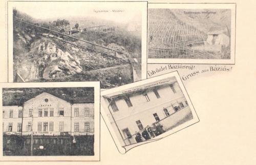 Báziás:hotel,tejcsarnok,csendőrlaktanya,szőlőhegy.1900