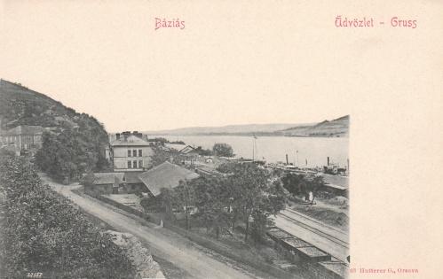 Báziás:látkép a pályaudvarral és a Dunával.1902