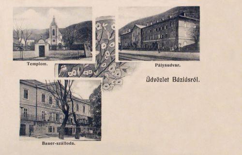 Báziás:Bauer szálloda,templom,vasútállomás.1906