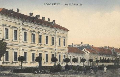 Borosjenő:Aczél Péter tér,Takarékpénztár,Könyvnyomda.1912