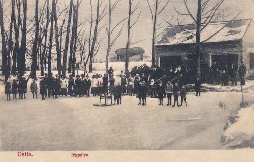 Detta:jégpálya korcsojázókkal.1907