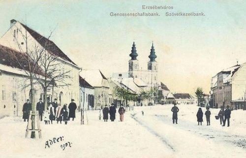 Erzsébetváros:Szövetkezeti Bank és templom.1907