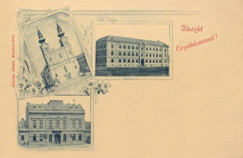 Erzsébetváros-Elisabathstadt-Dumbraveni:városháza,templom,gimnázium.1899