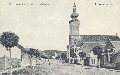 Erzsébetváros:Kiss Ernő utca a templommal.1915