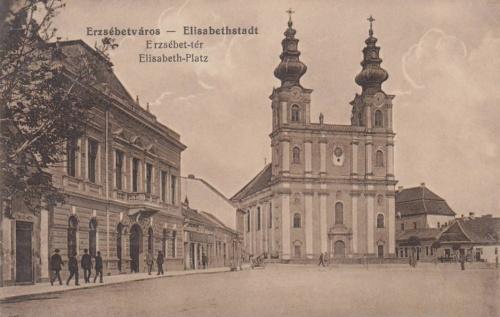 Erzsébetváros:Városháza és katolikus templom.1916