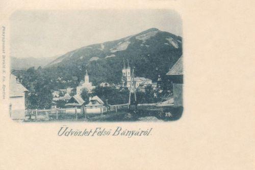 Felsőbánya-Baia Sprie-Mittelstadt:látkép a templomokkal.1897