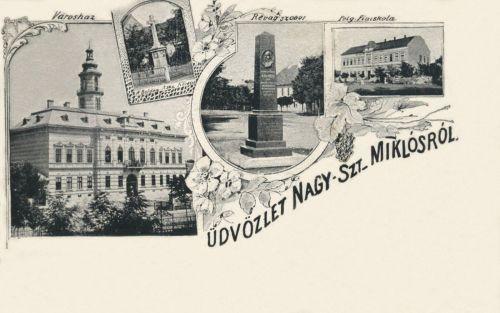 Nagyszentmiklós:Városháza,Révay Miklós szobra,Nagyboldogasszony kereszt.1899
