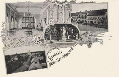 Nagyszentmiklós:Czenzinger szálloda,artézi kút.látkép.1899