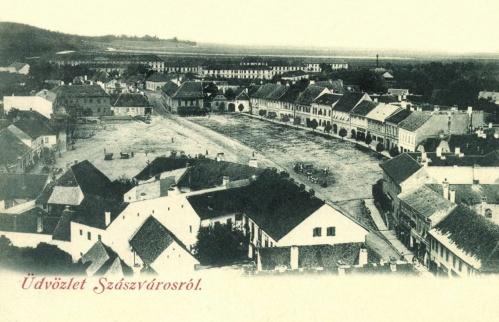 Szászváros:látkép a Főtérrel és a laktanyákkal,1898.