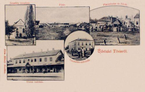 Tövis:Oroszlán szálloda,vasútállomás,izraelita templom,főtér és piac.1902