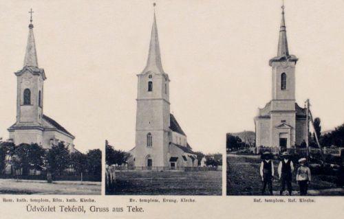 Teke:katolikus-,evangélikus-,református templom.1912
