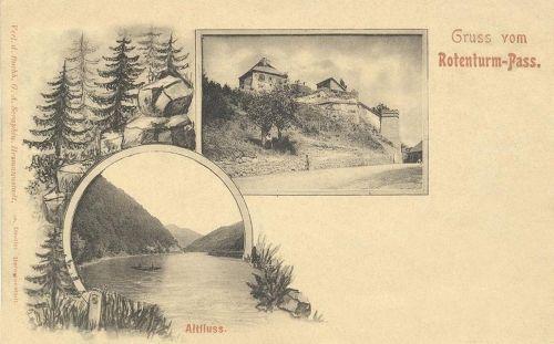 Vöröstorony-Rotenturm-Turnu Rosu:vár és folyó.1898