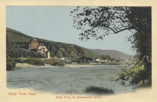 Vöröstorony:vár látképe a folyóval.1911