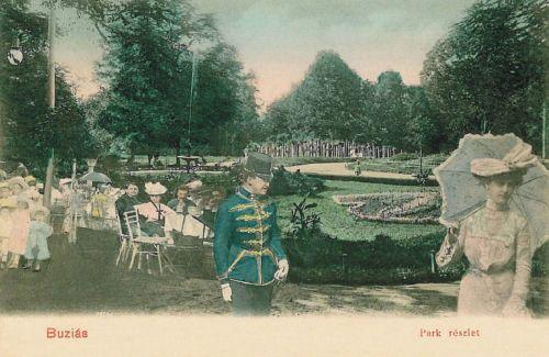 Buziásfürdő:park részlet,honvéd huszár.1903