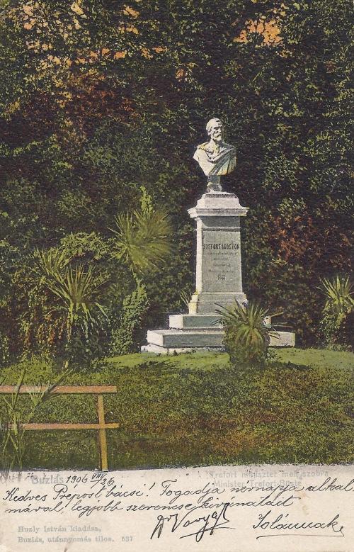 Buziás:Trefort Ágoston közoktatási és vaáásügyi miniszter szobra.1903