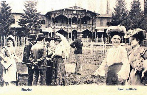 Buziásfürdő:Bazár szálloda vendégekkel.1903