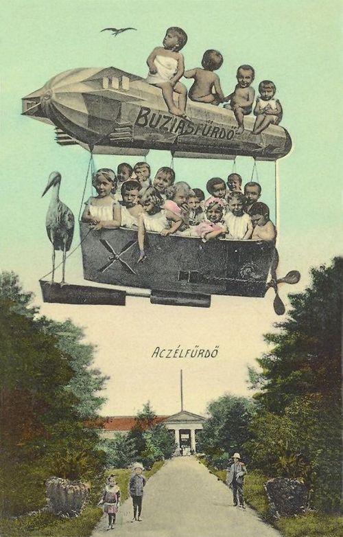 Buziásfürdő:Aczél fürdő,léghajó,gyerekek.1913