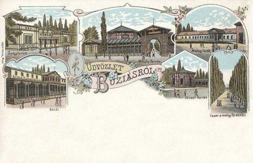 Buziásfürdő:Cursalon,Mihály forrás,Bazár.1898