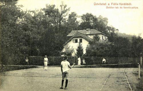 Félixfürdő:teniszpálya és orvosi lak.1909