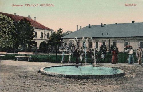 Félix:szőkőkút,balra a Viktor szálloda.1910