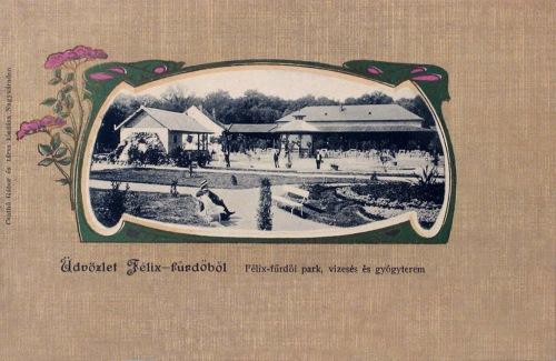 Félixfürdő:park,vizesés és Gyógyterem.1900
