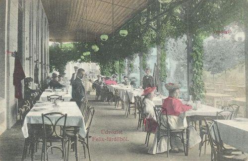 Félixfürdő:étterem terasza.1908