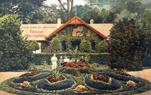 Félixfürdő:Posta és park.1909