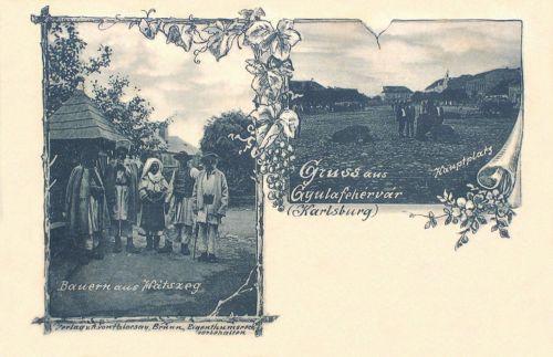 Gyulafehérvár:főtér a vásárral és román hátszegi parasztok népviseletben.1898