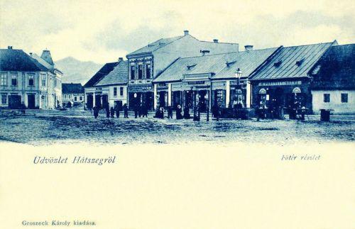 Hátszeg:főtéri részlet,Popovits üzletével.1902