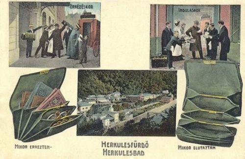 Herkulesfürdő:vendég érkezése és távozása.1912