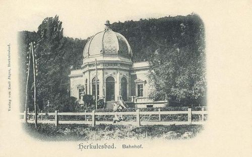 Herkulesfürdő:vasútállomás.1900