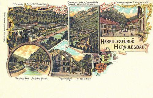 Gyógypark,Szapáry fürdő,Rudolf udvar,Herkules tér.1899