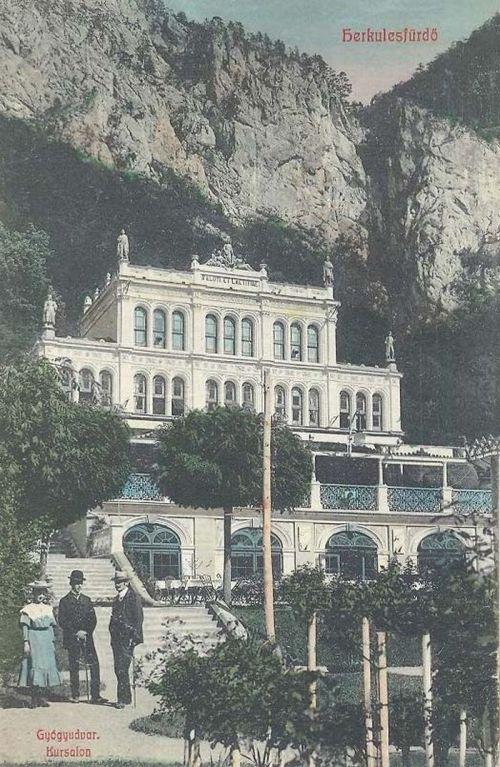 Herkulesfürdő:Gyógyudvar,Kurszalon.1909