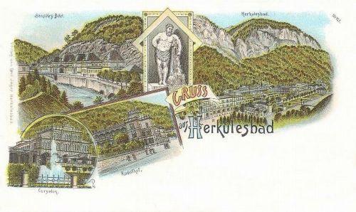 Herkulesfürdő:Rudolf udvar,Cursalon,Szapáry fürdő.1898