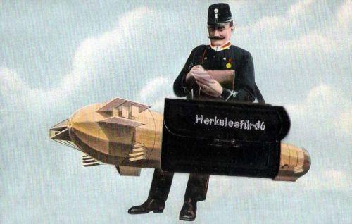 Herkulesfürdő:Zeppelin és postás.1911