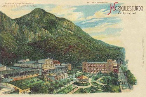Herkulesfürdő:kőnyomat és átvilágitós képeslap.1899