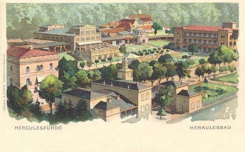 Herkulesfürdő:látkép,kőnyomat.1899