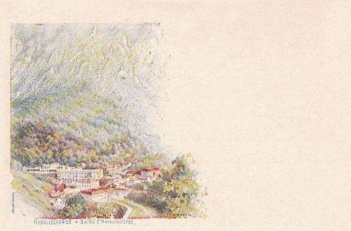 Herkulesfürdő:milleniumi képeslap,kőnyomat.1896