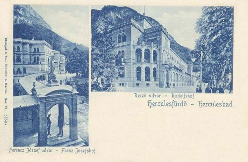 Herkulesfürdő:Ferencz József udvar és Rezső udvar.1900