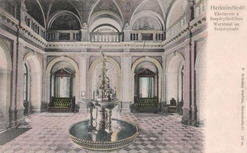 Herkulesfürdő:váróterem belseje a Szapári fürdőben.1900