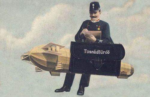 Tusnádfürdő:Zepelin léghajó postással.1908