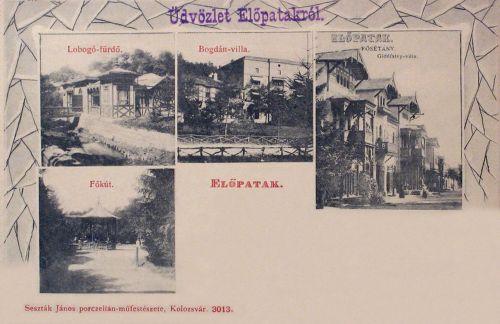 Előpatak:Főkút,Lobogó fürdő,Gidófalvi és Bogdán villák.1906