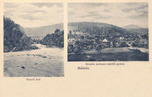 Málnásfürdő:szénsav süritő gyár,vasúti hid.1910