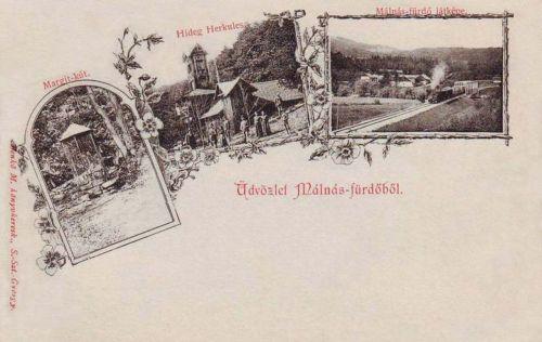 Málnásfürdő:Margit kút,Hideg Herkules,látkép.1900
