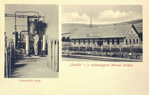 Málnásfürdő:Siculia R.T szénsavgyára,szénsavtöltő terem.1909