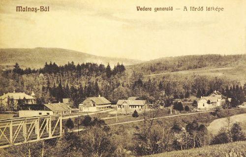 Málnás:látkép a vasúti hiddal és a villákkal.1928